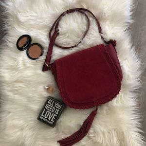 INC Maroon Saddlebag Purse